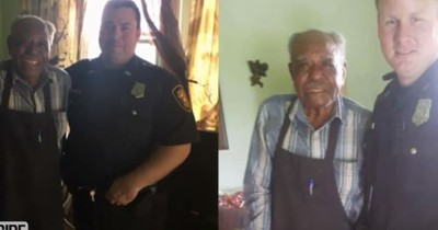 Zwei Polizisten retten einen Mann mit dem Kauf einer Klimaanlage