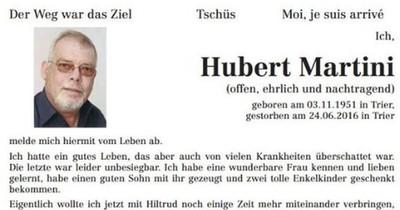 Mann aus Trier schreibt eigene Traueranzeige