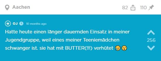 Teenagerin wird schwanger - weil sie mit Butter verhütet hat!