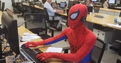 An seinem letzten Arbeitstag bringt er den Chef in Rage: Er kommt als Spiderman zur Arbeit!
