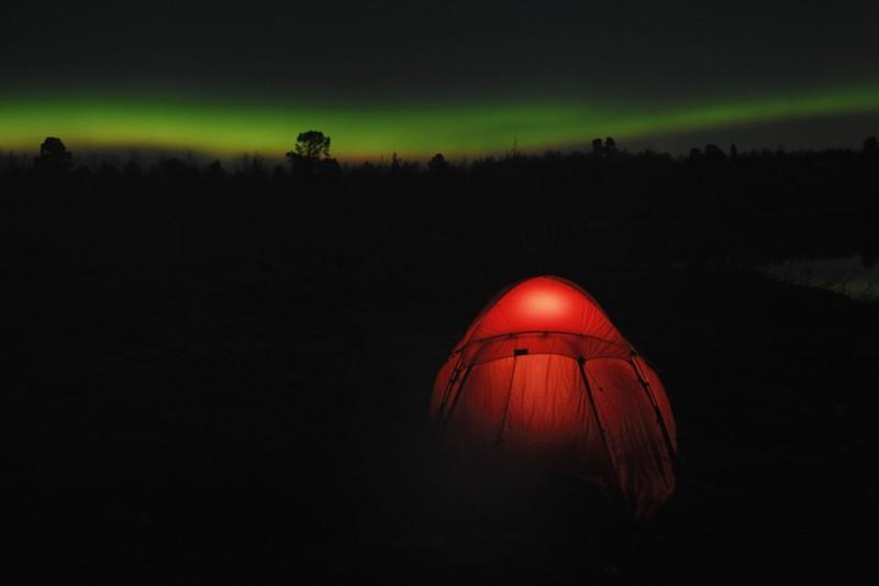 Ein Zelt im Wald. Die Gefahr entführt zu werden, ist nicht gering