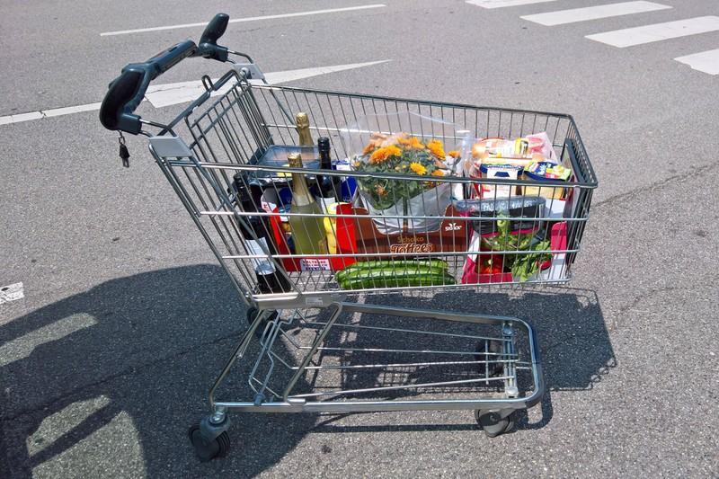 Ein gefüllter Einkaufswagen