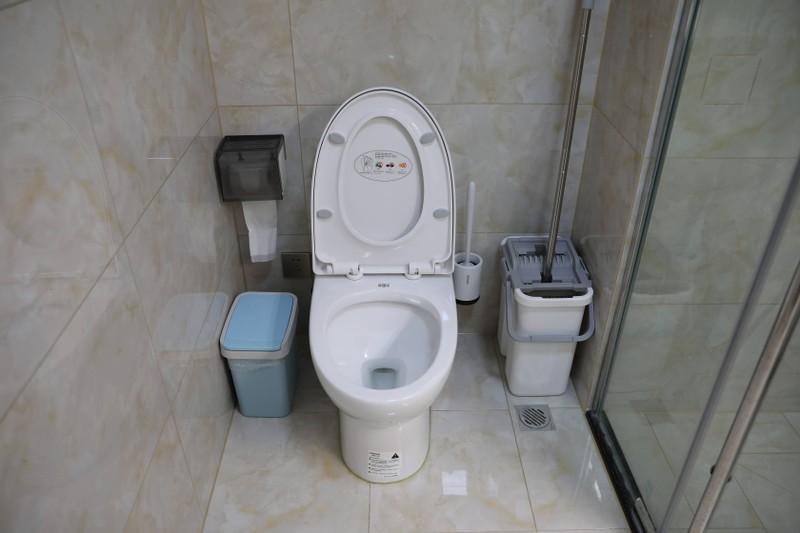 Toilette mit hochgeklapptem Sitz