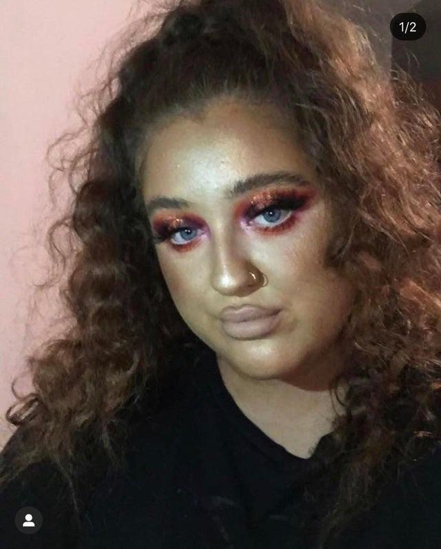 Ob das Model sich so ihren Make-Up-Look vorgestellt hat?