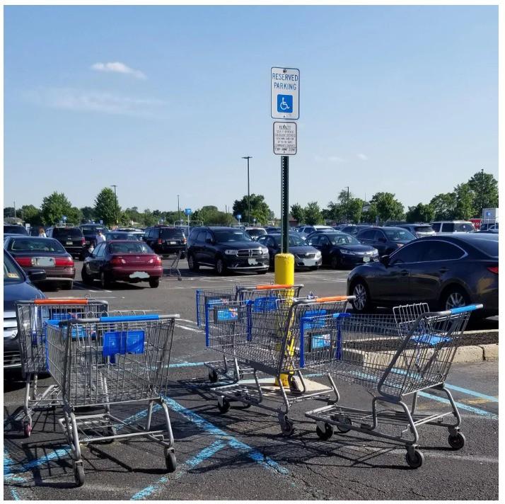 Seinen Einkaufswagen nicht auf einem Behindertenparkplatz abzustellen gebietet eigentlich der gesunde Menschenverstand