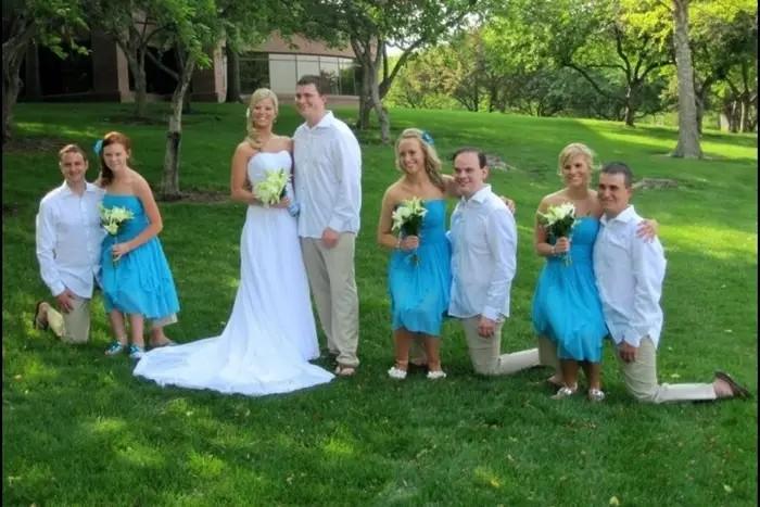 Das Bild zeigt ein Hochzeitsfoto mit einer optischen Täuschung