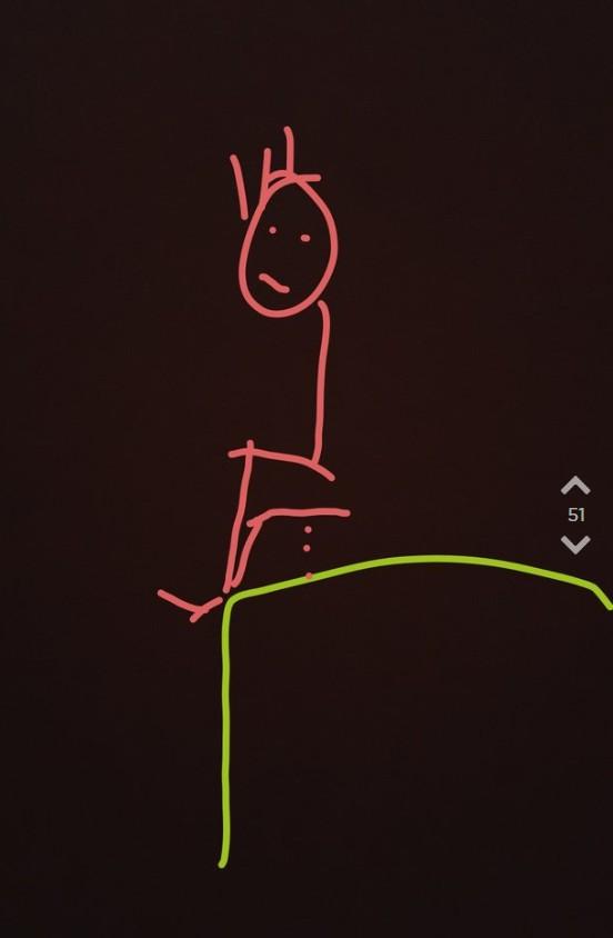 Jodler macht Zeichnung von OJs Date, wie sie auf den Bahnsteig pinkelt.