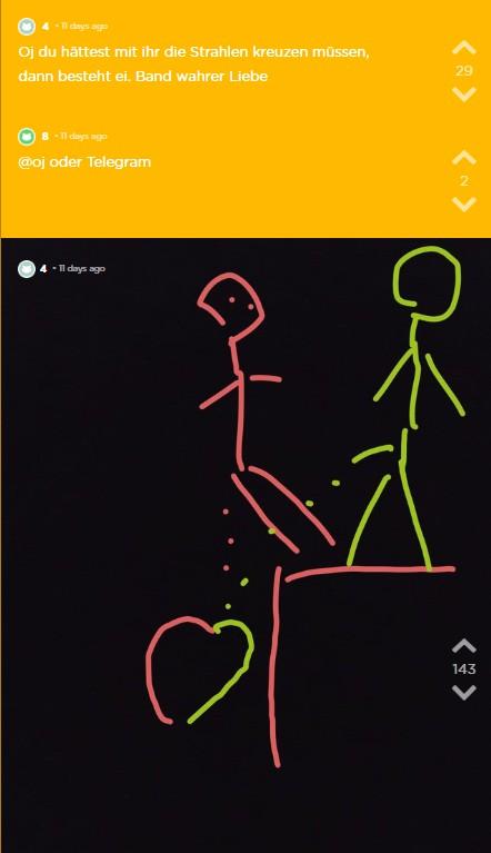 Jodler macht eine Zeichnung von OJ und sein Date zusammen die auf die Gleise pinkeln.
