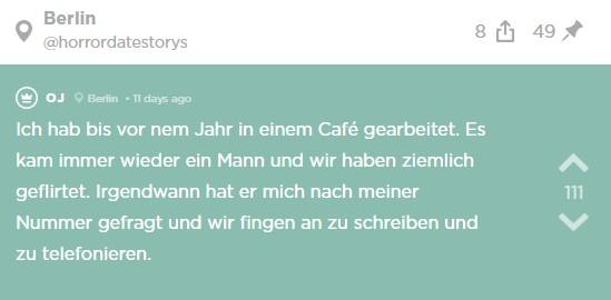 Jodlerin lernt einen Mann im Café kennen und sie beginnen sich zu schreiben und zu telefonieren