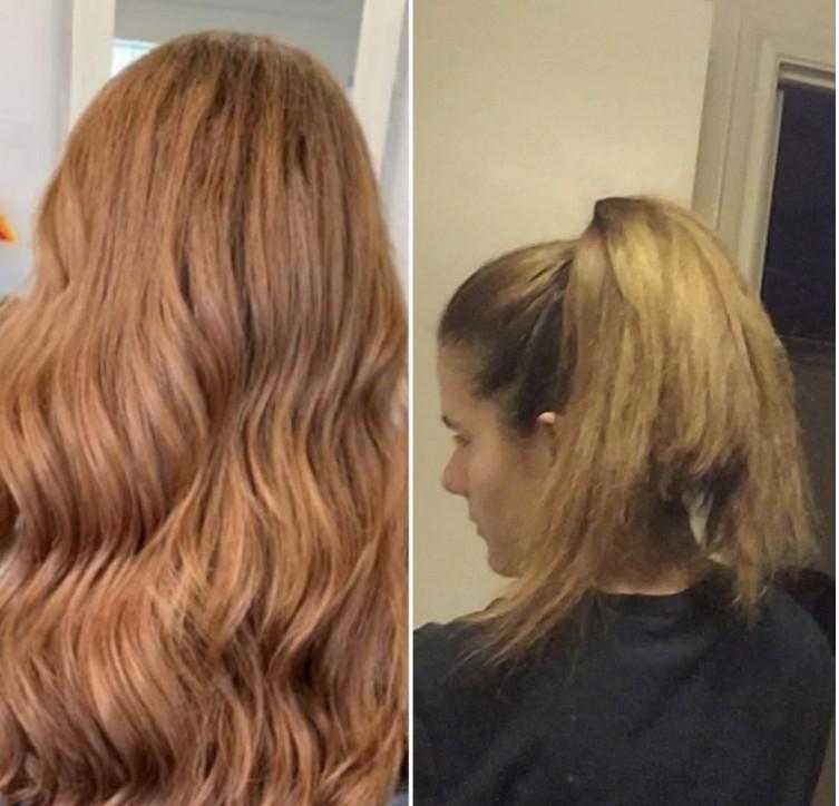 Frau bekommt Kante in Haare geschnitten