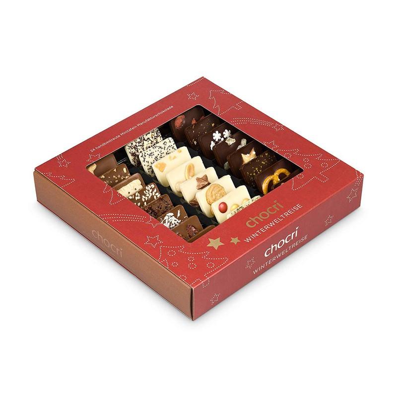 Man erkennt eine Schokolade, die man an Weihnachten besonders gut verschenken kann
