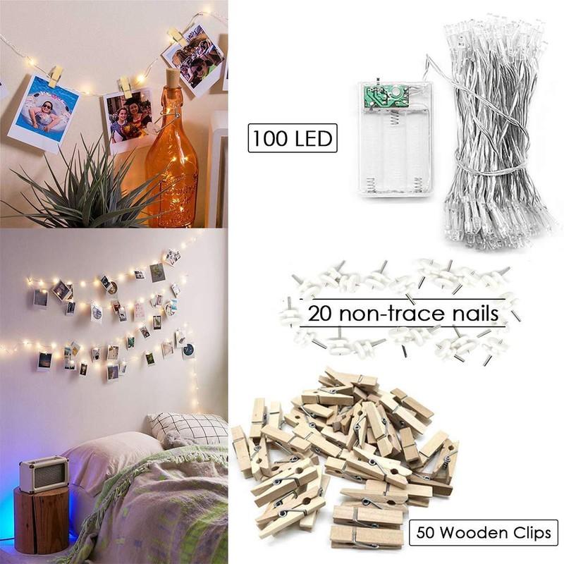 Man sieht eine Lichterkette mit Fotos, ein ideales Geschenk für Weihnachten