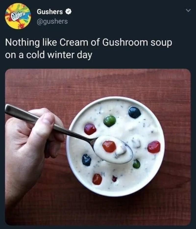 Sahne-Suppe mit Fruchtgummi als Küchenunfall