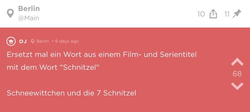 Jode-Screenshot mit dem Wort Schnitzel