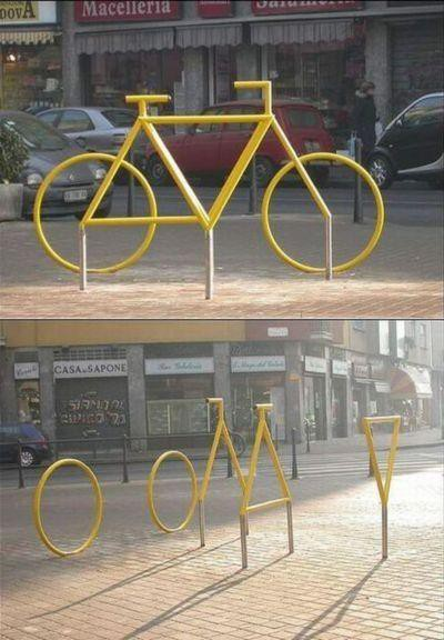 Optische Täuschung, die aussieht wie ein Fahrrad