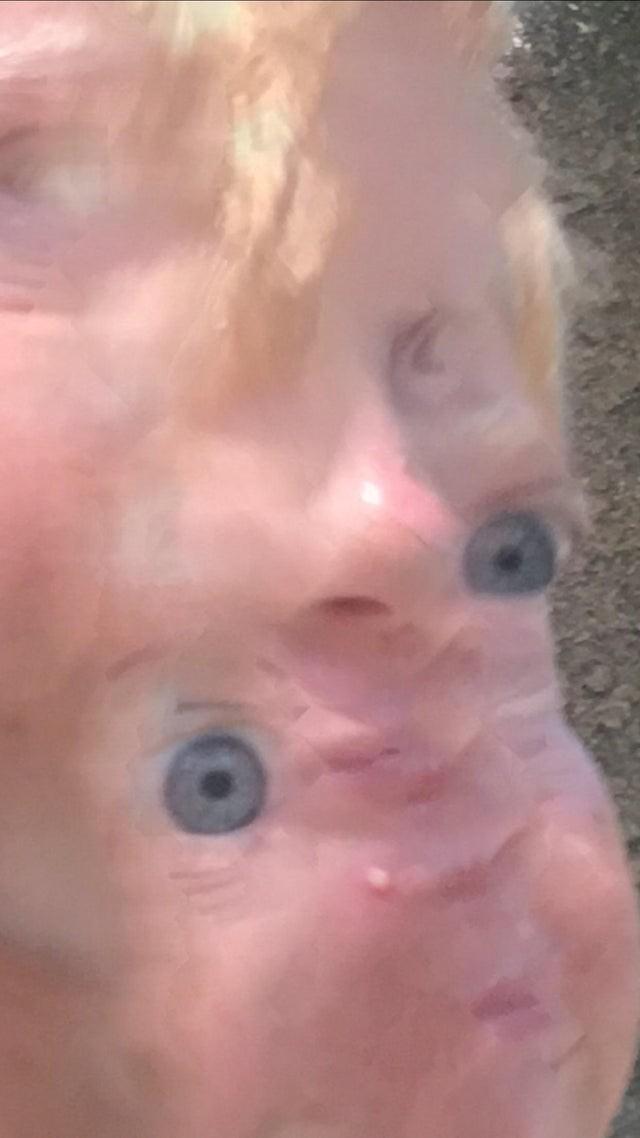 Ein verschwommenes Gesicht