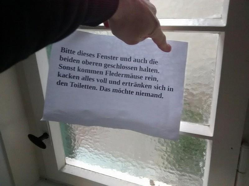 Schild warnt vor Fledermäusen, die sich in den Toiletten ertränken