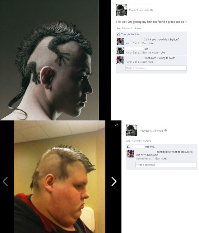 Beide Männer haben eine grausige Frisur, die an eine Eidechse erinnert
