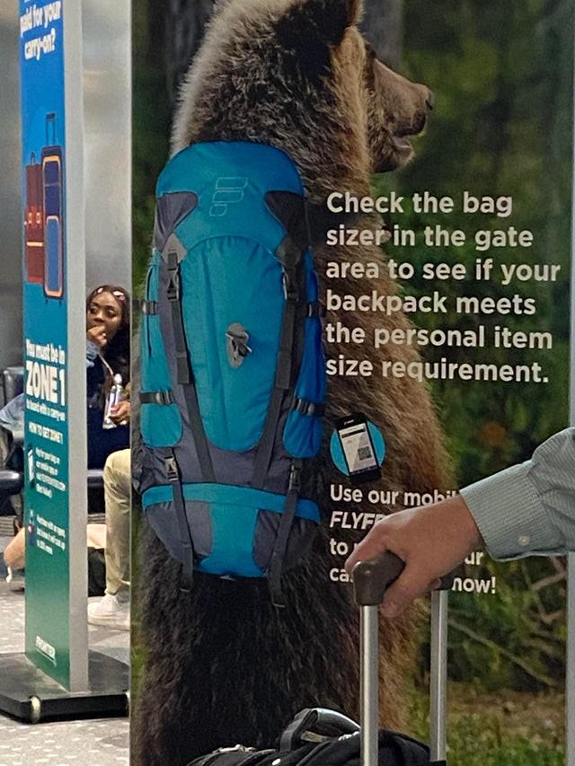 Die Aufgabe war, einen Rucksack attraktiv darzustellen - das hat hier nicht geklappt.