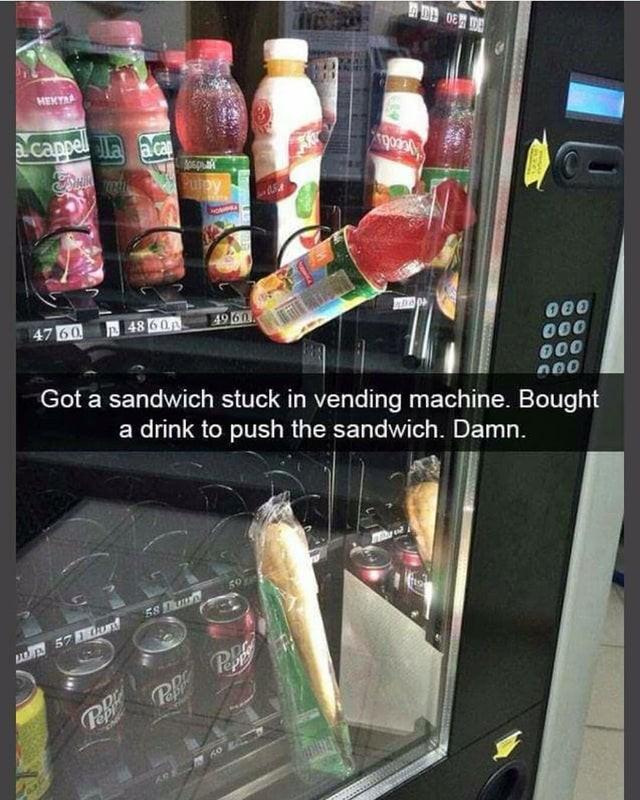 Snacks, die im Automaten stecken bleiben