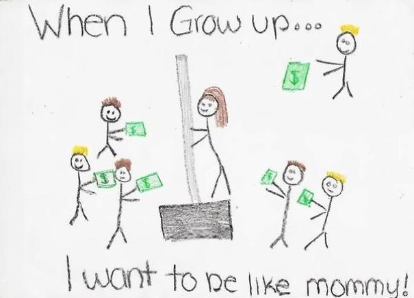 Diese lustige Kinderzeichnung zeigt uns, wo Erwachsene ihre Gedanken haben.