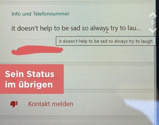 Der Status sagt nichts über den Anrufer aus
