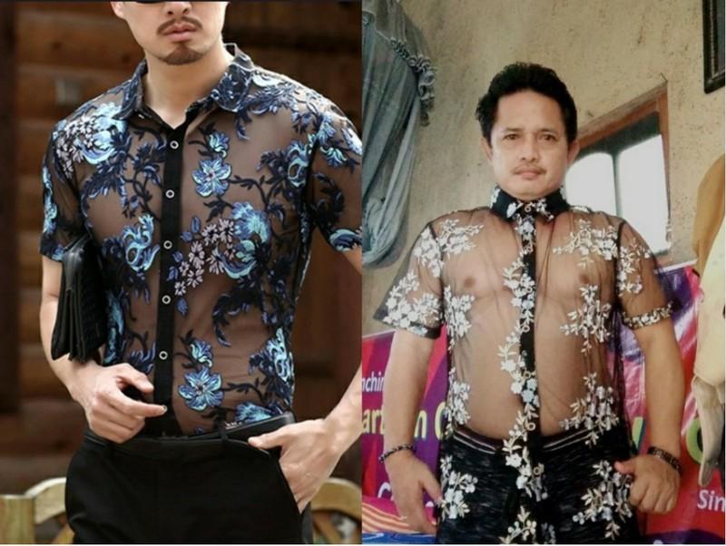 Auch wenn die rechte Person deutlich mehr Platz in seinem Hemd hat, so hat er sich den Online-Einkauf doch sicher anders vorgestellt und bereut ihn.