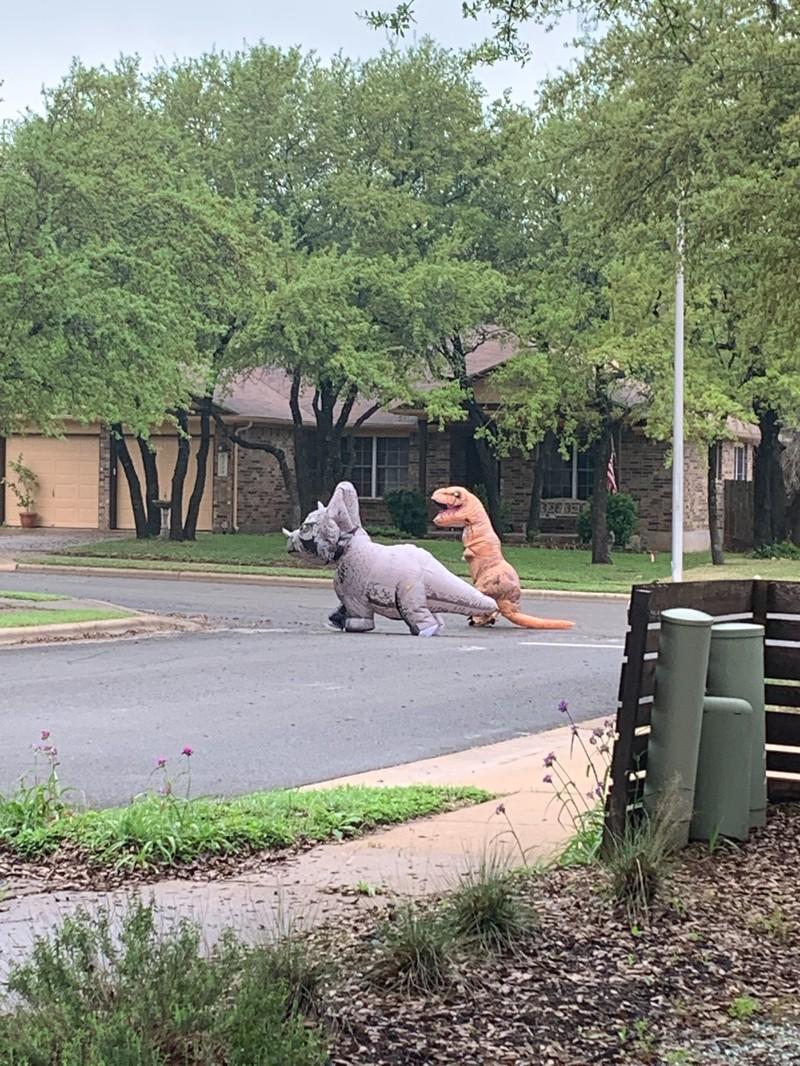 Zwei Leute laufen in Social Distancing Manier in Dino-Kostümen