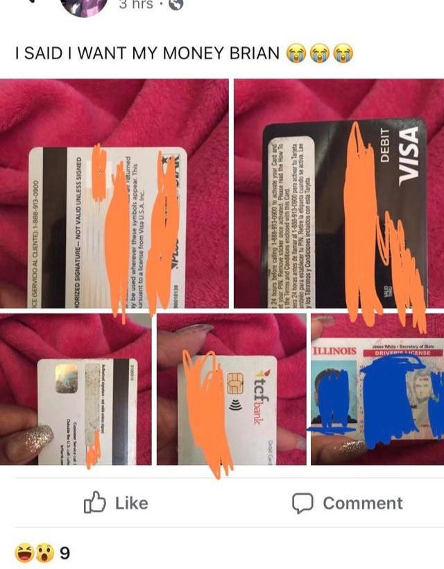 Frau postet Bild von der Kreditkarte ihres Freundes
