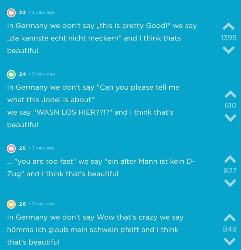 Deutsche Sprüche bei Jodel, die einen zum Lachen bringen