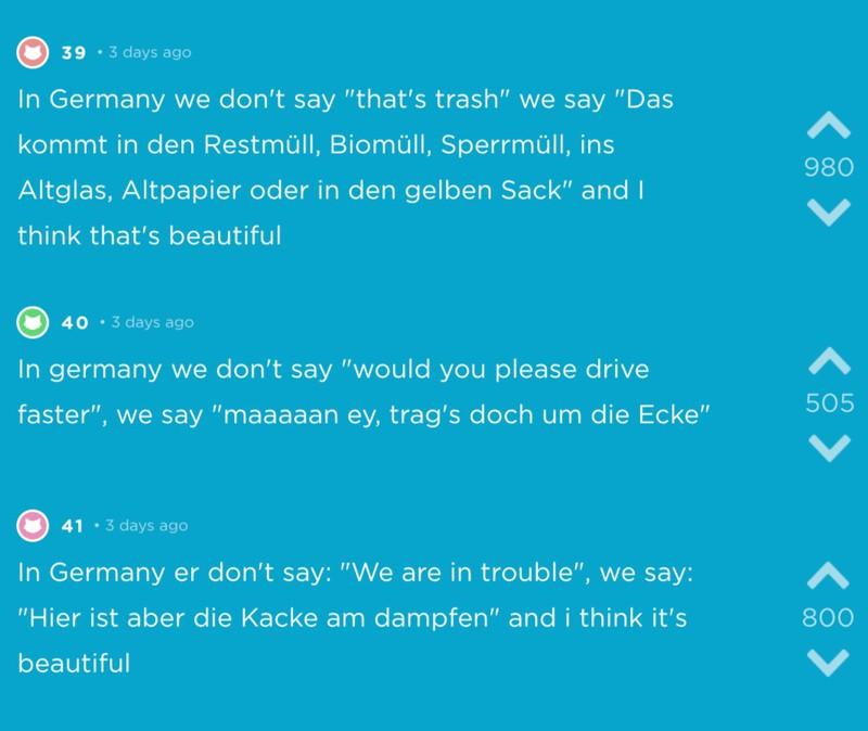 Typisch deutsche Aussagen auf Jodel