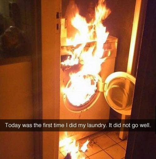 Was ein Fail: Die Waschmaschine ist hier verbrannt