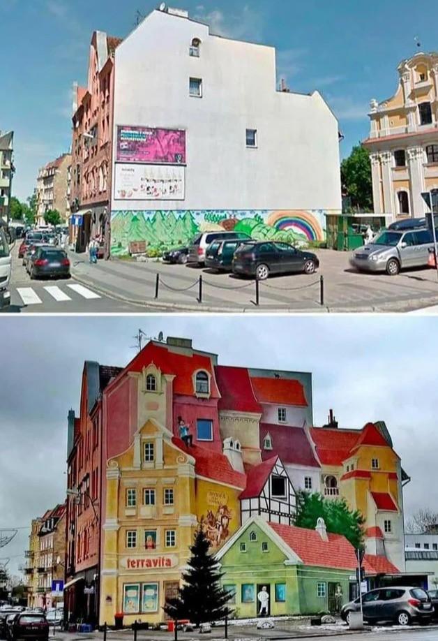Hauswand nachdem ein Maler ein 3D-Bild malte