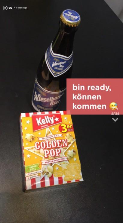 OJ hat Popcorn und Bier bereitgestellt.