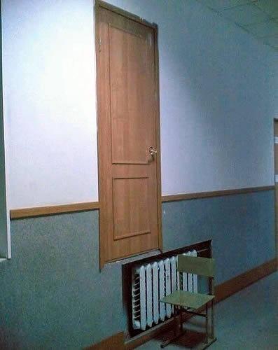 Der Fail des Architekten war es, die Tür zu hoch zu bauen