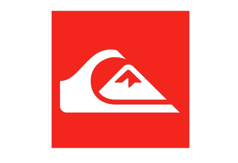 """Das Logo Quiksilver deutet auf eine Welle hin und auf den Berg Fuji aus dem japanischen Gemälde """"Die große Welle vor kanagwa"""""""