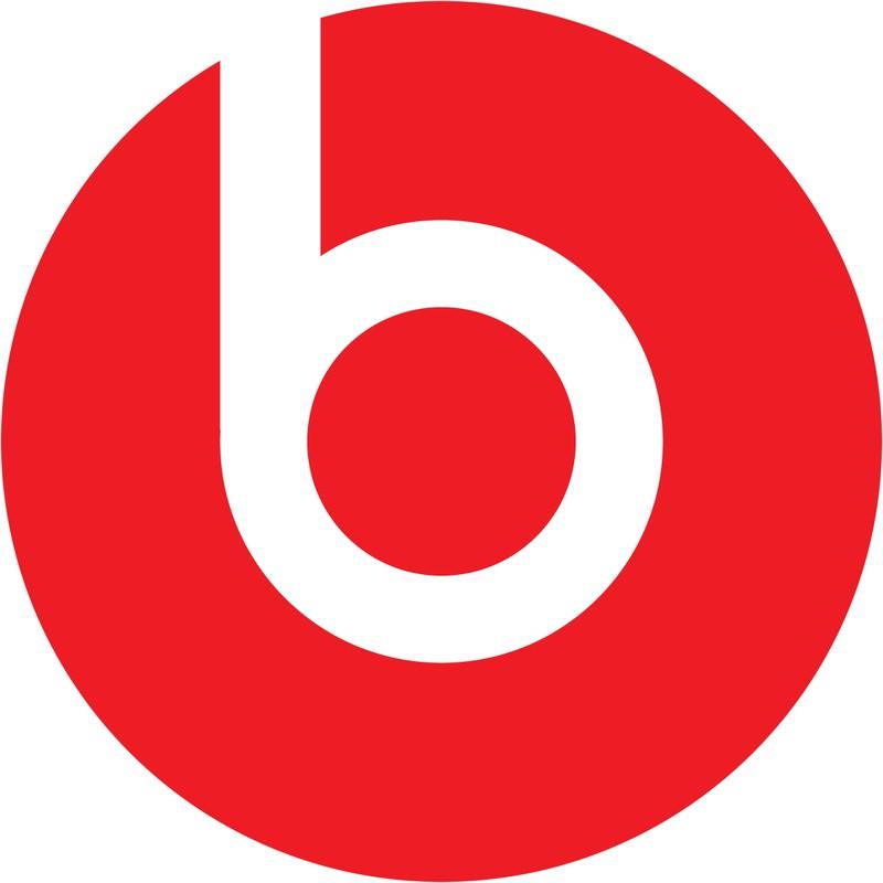 """Der rote Kreis und der weiße Buchstabe der Marke """"Beats"""" symbolisieren einen Kopf und Kopfhörer"""